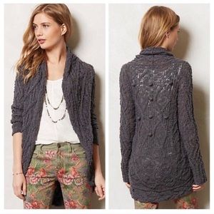 Anthropologie Knitted Knotted Gemma Cardigan Gray